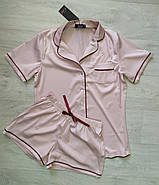 Бежевая шелковая пижама, фото 2