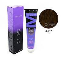 4/07 шатен интенсивный коричневый Безамиачная краска для волос DCM Cream Ammonia 100 мл