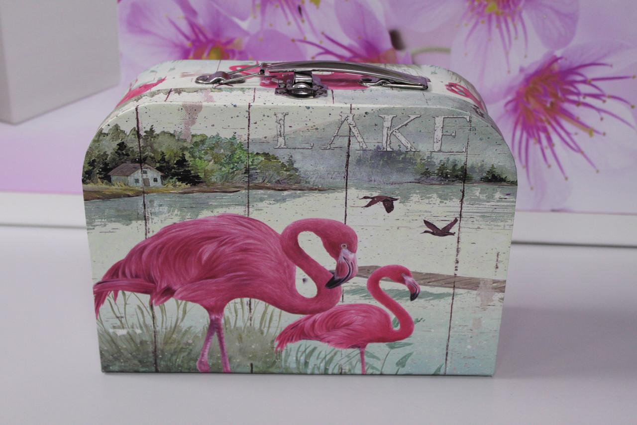 Коробочка в виде чемодана с рисунком фламинго 24.5 см
