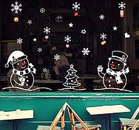 Интерьерная наклейка Новогодняя Снеговики, фото 1