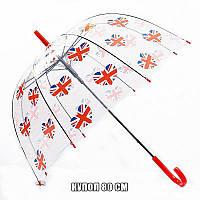 Зонт-трость прозрачный купол с английским влагом, 80 см