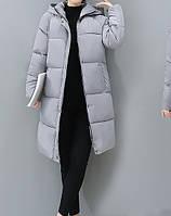 Женский зимний дутый пуховик с капюшоном, серый, размер М, опт, фото 1