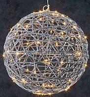 Акция! Декоративный шар серебрянный диаметр 33 см, 80led Luca Lighting (8718861683158) [Бесплатная доставка!]
