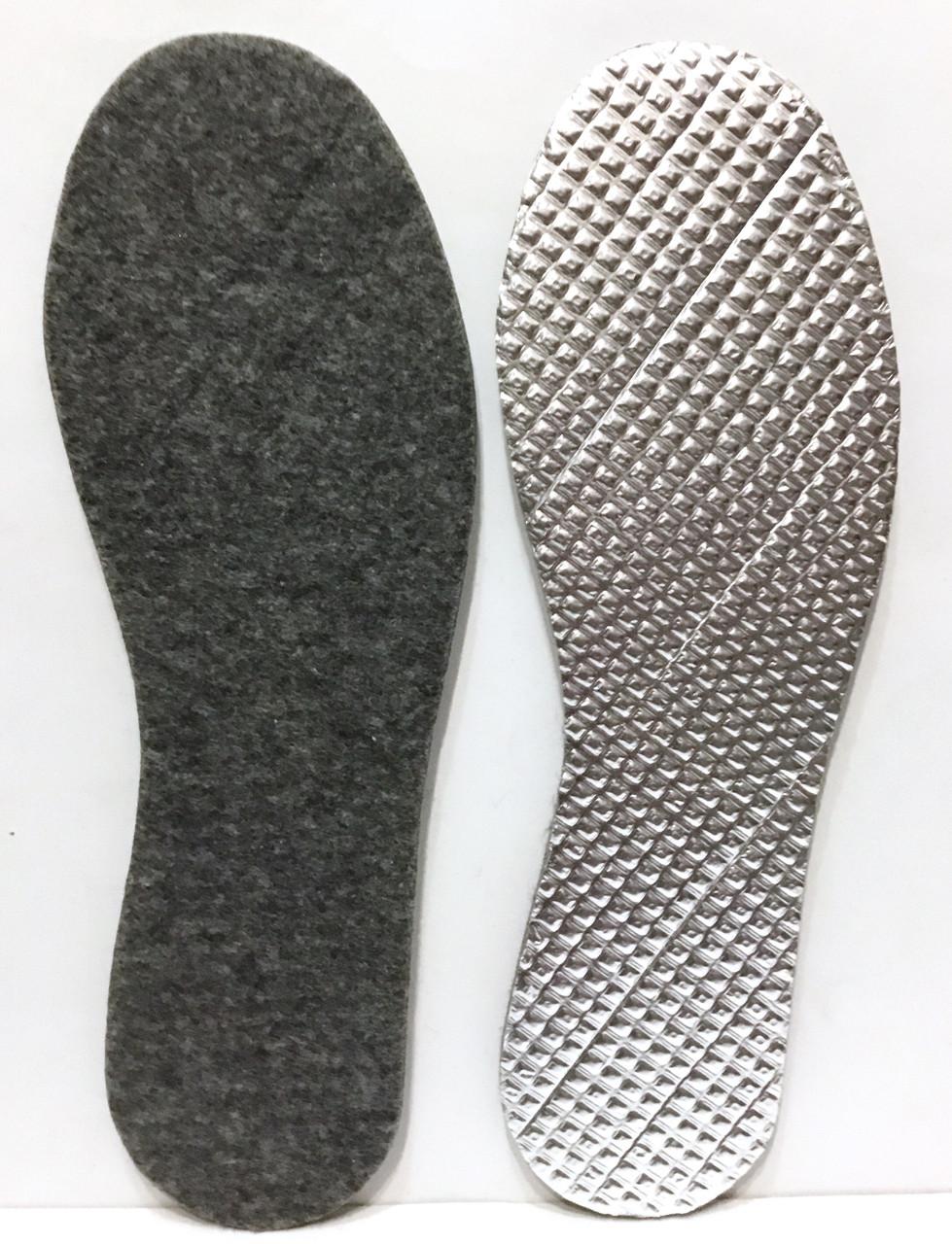 Стелька для обуви фетровая с алюминиевой фольгой