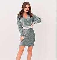 Платье на запах зеленое с люрексом нарядное праздничное платье красивое молодежное платье эффектное