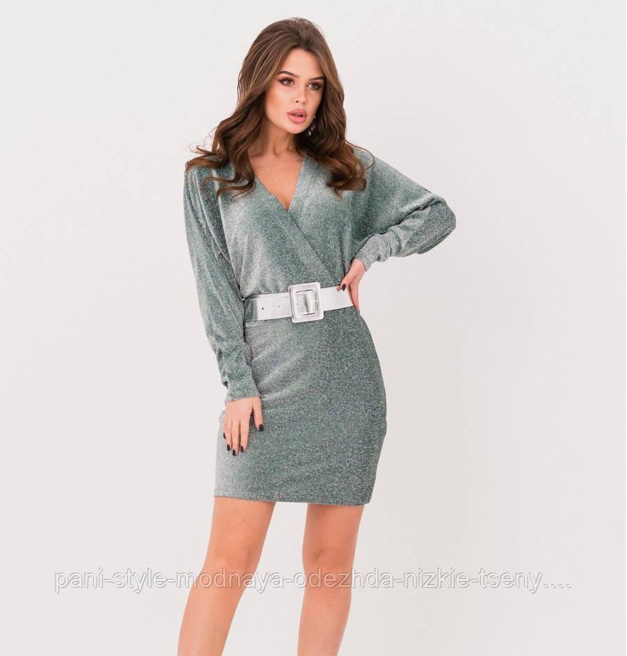 Зелена сукня на запах з люрексом, плаття ошатне святкове, плаття гарне молодіжне, плаття ефектне