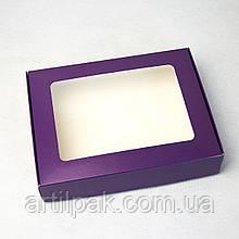 Коробка для пряника 192*148*40 ФІОЛЕТОВА з прозорим вікном