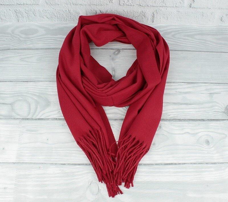 Кашемировый шарф, палантин бордовый Cashmere 7480-16
