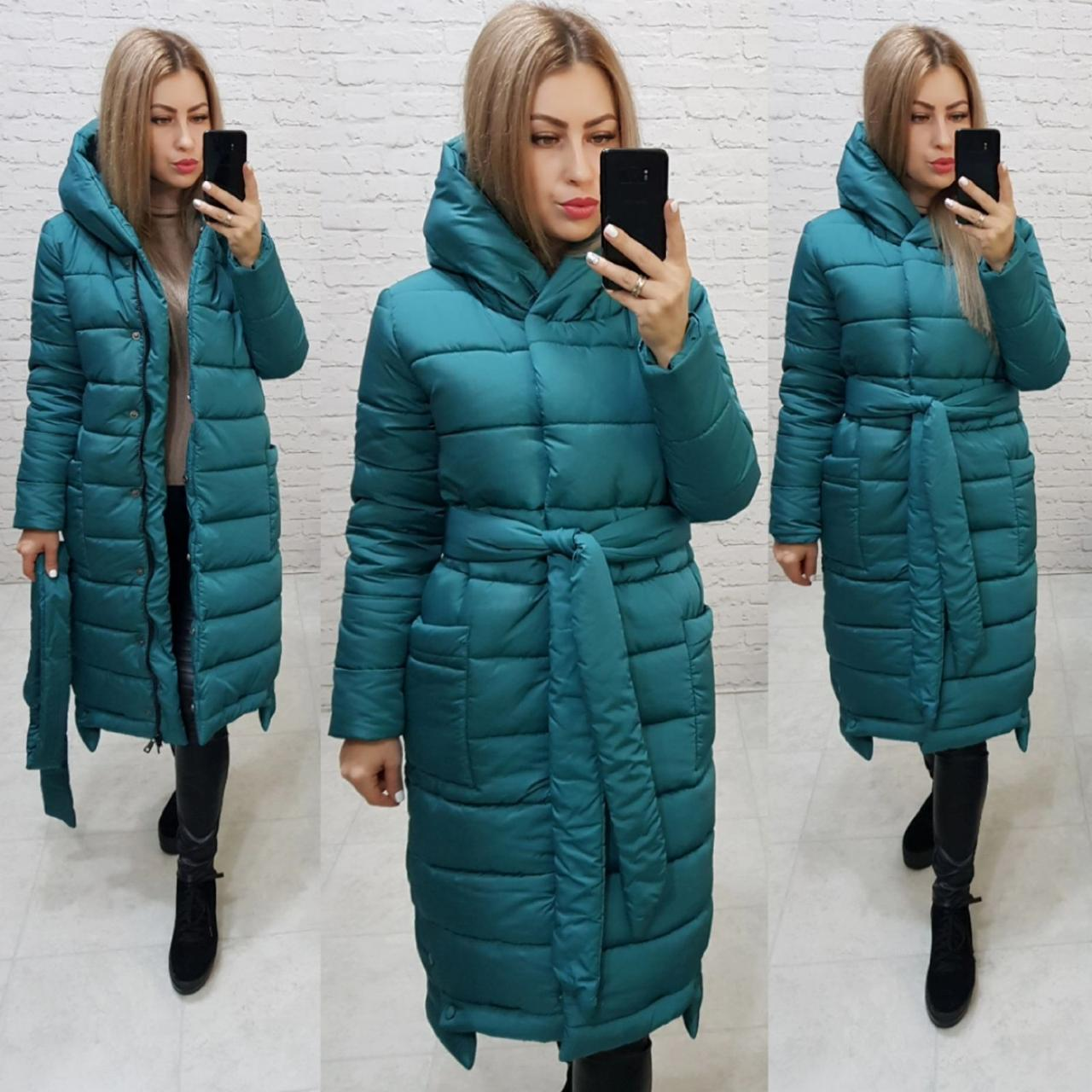 Зимняя приталенная куртка пуховик с поясом, артикул 032, цвет изумрудный зелёный