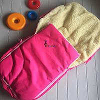 Чехол-конверт на санки и в коляску Классический на меху малиновый, фото 1