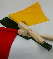 Сигнальные флажки в чехле. Сигнальный флажок армейский. Красный белый желтый, фото 1