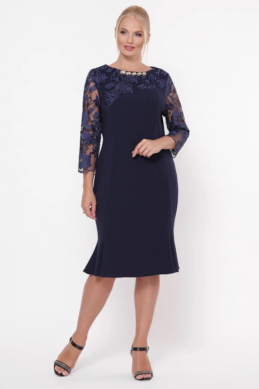 Нарядное женское платье Аннэт синее (52-58)