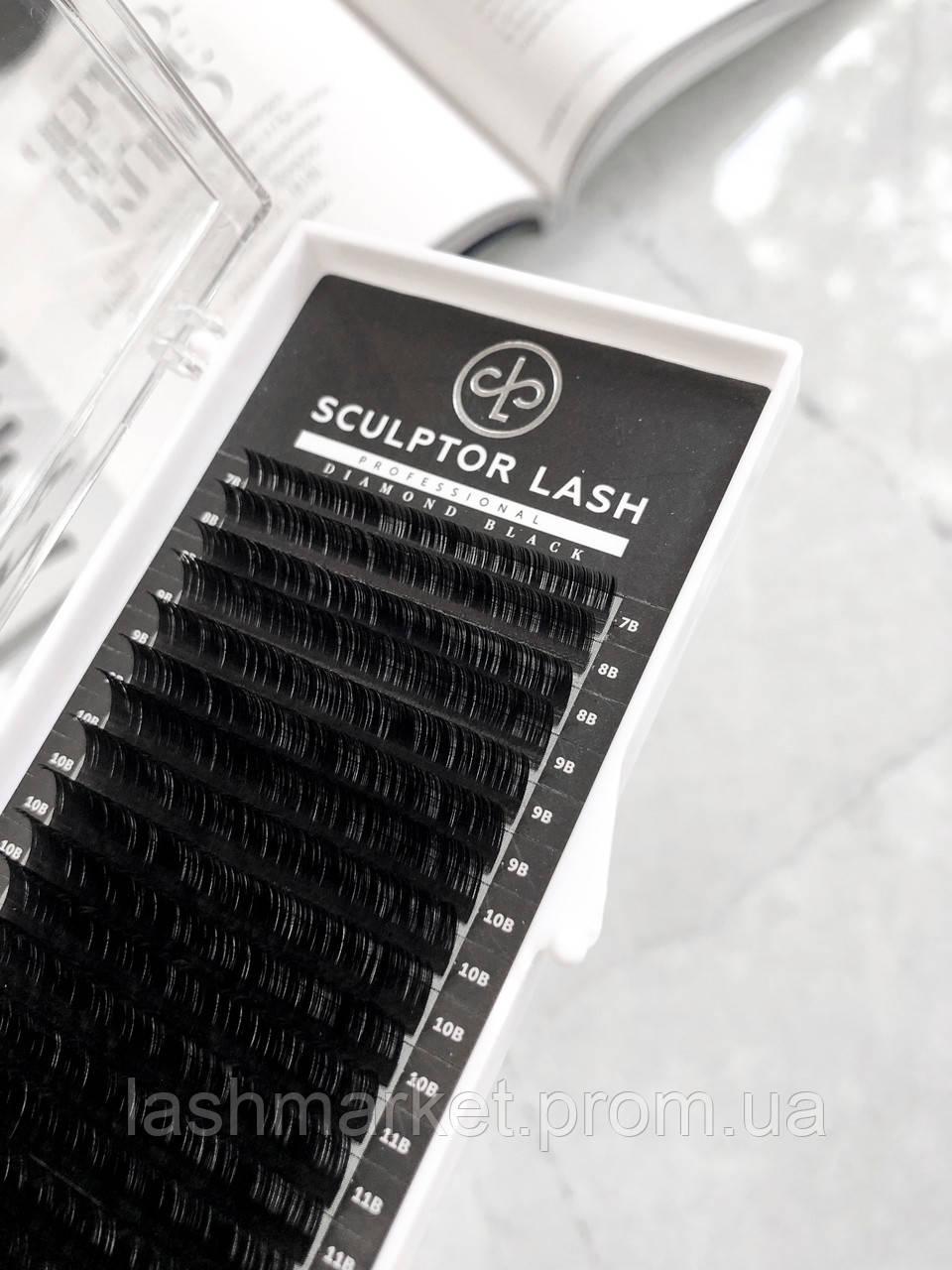 Ресницы ОТД ДЛИНА Sculptor Lash Diamond Black черные(для наращивания ресниц) D, 9, 0.07
