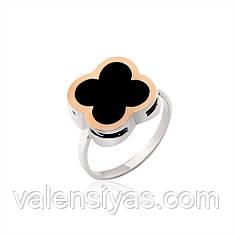 Серебряное кольцо с ониксом и золотом
