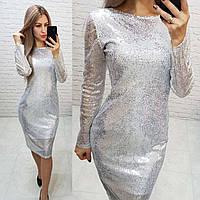 Платье нарядное на новый год с открытой спинкой арт. 184 серебряное / серебро / белого и серебряного цвета