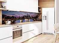 Кухонный фартук Мост (наклейки для стеновых панелей, Ночной город огни моста вечер пленка для кухни скинали)
