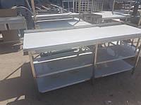 Стол производственный с бортом и 2мя полками 2200х600х850, из нержавеющей стали