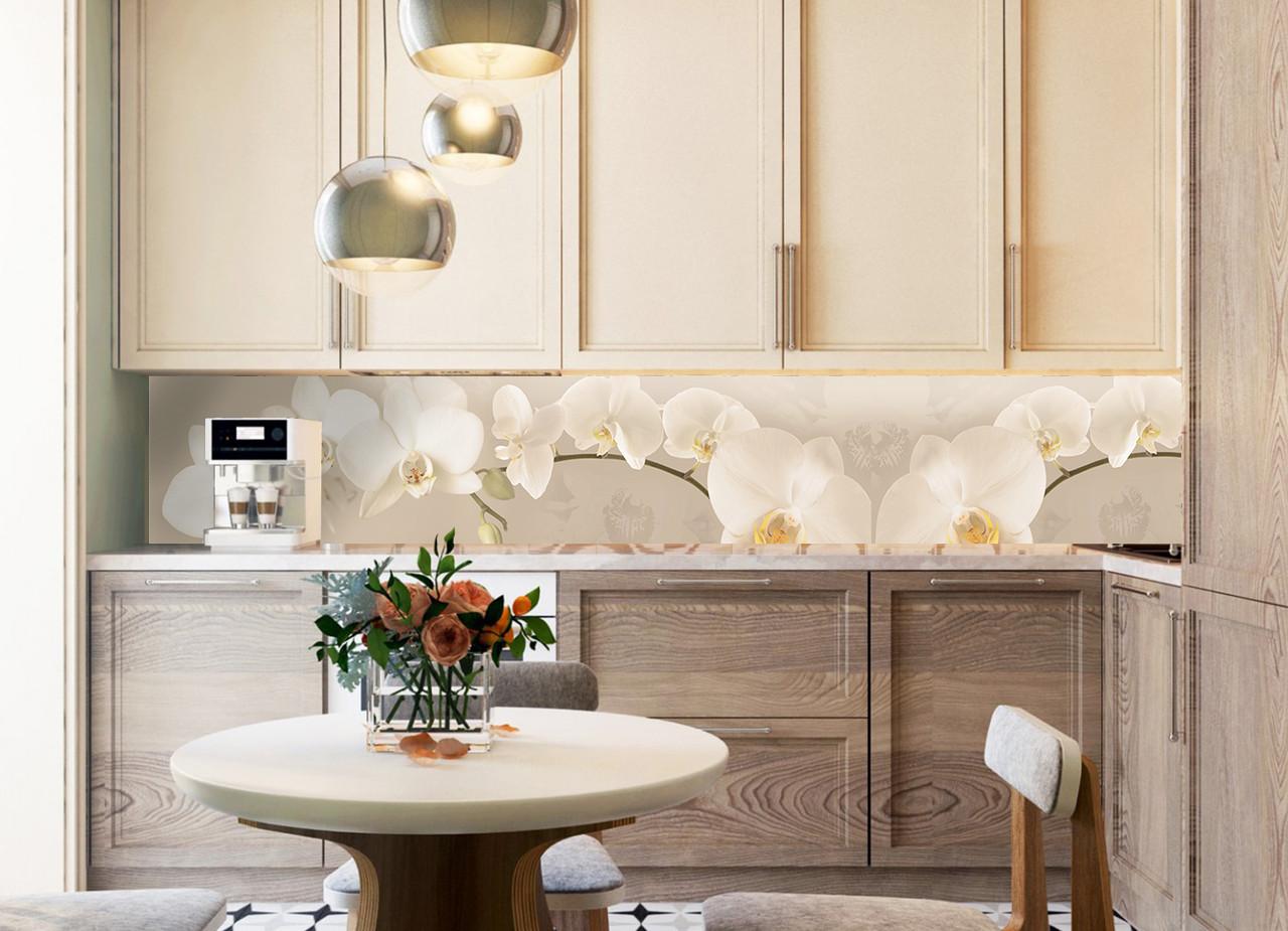 Кухонный фартук Орхидея беж полноцветная фотопечать наклейка на стену кухни цветы скинали 600*2500 мм