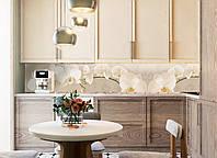 Кухонный фартук Орхидея беж (полноцветная фотопечать, наклейка на стеновую панель кухни, цветы скинали)