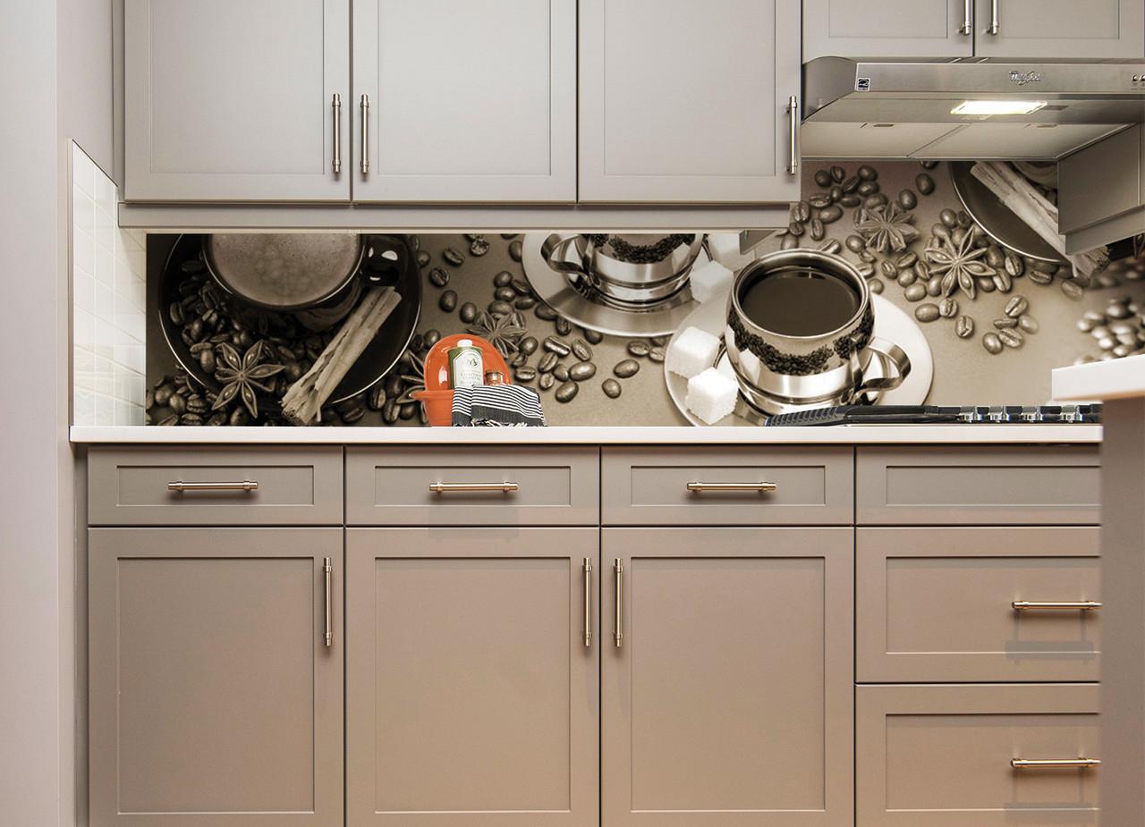 Кухонний фартух Кава з цукром повнокольоровий фотодрук наклейка на стіну кухні бронза скіналі 600*2500 мм