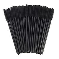 Силиконовые щеточки одноразовые для наращивания ресниц (кисточки под тушь) черные с черной ручкой, 50 шт.