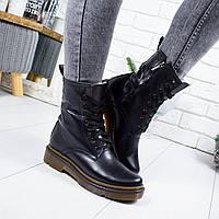 Женские черные зимние  кожаные натуральные высокие ботинки  в стиле Dr. Martens на меху
