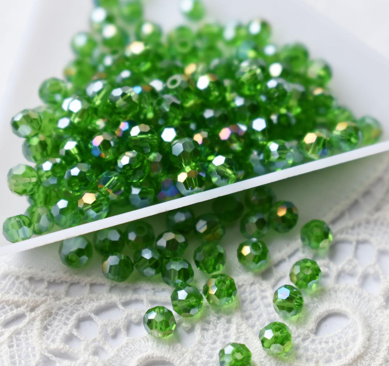 Намистини скло 4 мм круглі гранчасті, 50 шт, зелені з АВ