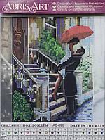 """Схема для вышивки бисером на натуральном холсте """"Свидание под дождем"""" 20*20 см"""