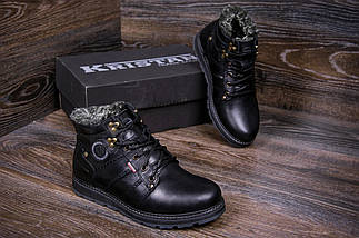 Мужские зимние кожаные ботинки в стиле Kristan City Traffic Black, фото 2