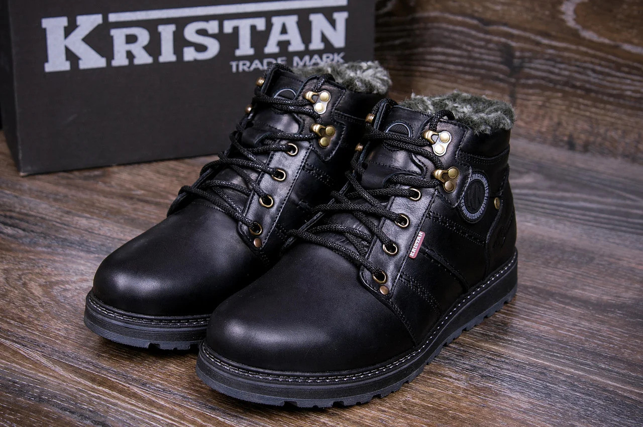 Мужские зимние кожаные ботинки в стиле Kristan City Traffic Black
