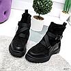 Женские зимние эко-замшевые ботинки на фигурной подошве, размеры: 40, 36, 38, 37, 39, 41, цвет -черный, фото 2
