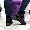Женские зимние эко-замшевые ботинки на фигурной подошве, размеры: 40, 36, 38, 37, 39, 41, цвет -черный, фото 3