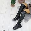 Женские зимние высокие сапоги ботфорты на платформе танкетке, размеры: 40, 36, 38, 37, 39, цвет - черный, фото 7