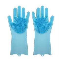 Силіконові рукавиці SUNROZ для миття посуду зі щіточкою Блакитний