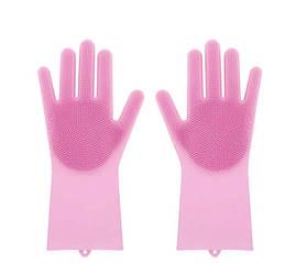 Силіконові рукавиці SUNROZ для миття посуду зі щіточкою Рожеві