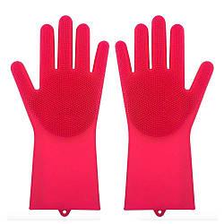 Силіконові рукавиці SUNROZ для миття посуду зі щіточкою Червоний