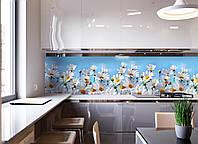 Кухонный фартук Ромашковое поле цветы (ромашки белые фотопечать, наклейка на стеновую панель кухни скинали) 600*2500 мм