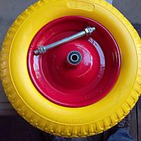 Безкамерне полиуретановое колесо на тачку 3.5/8 с осью