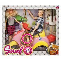"""Кукла и Кен на музыкальном скутере """"Sariel"""" жёлто-розовый"""