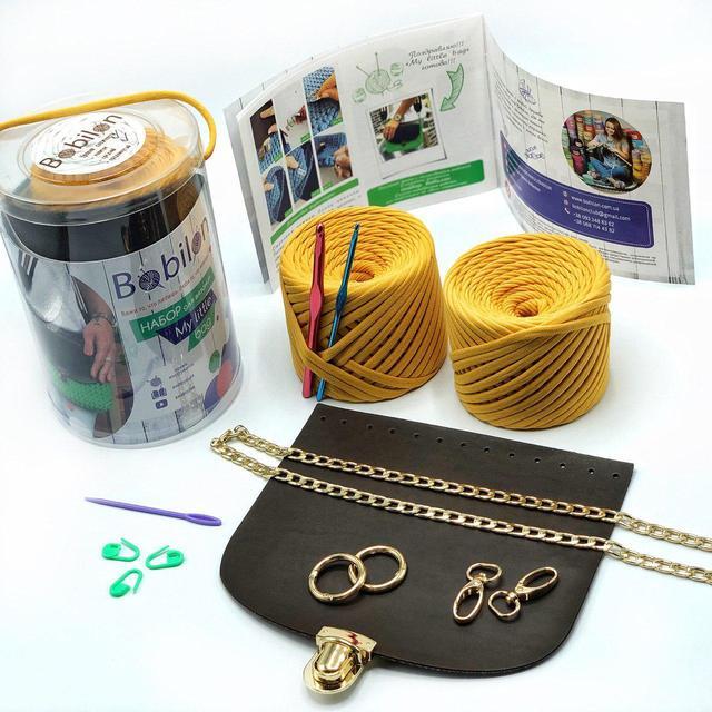 Набор для вязания крючком сумки кросс боди из трикотажной пряжи Бобилон