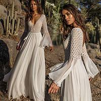 Пляжное шифоновое платье-туника в пол белого цвета, фото 1