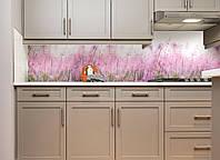 Кухонный фартук Луг (полноцветная фотопечать наклейка на стеновую панель для кухни цветы трава винтаж розовый)