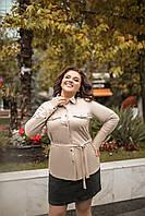 Рубашка женская из экокожи на широких манжетах под пояс (К29450), фото 1