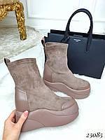 Осенние ботинки чулки на платформе, фото 1