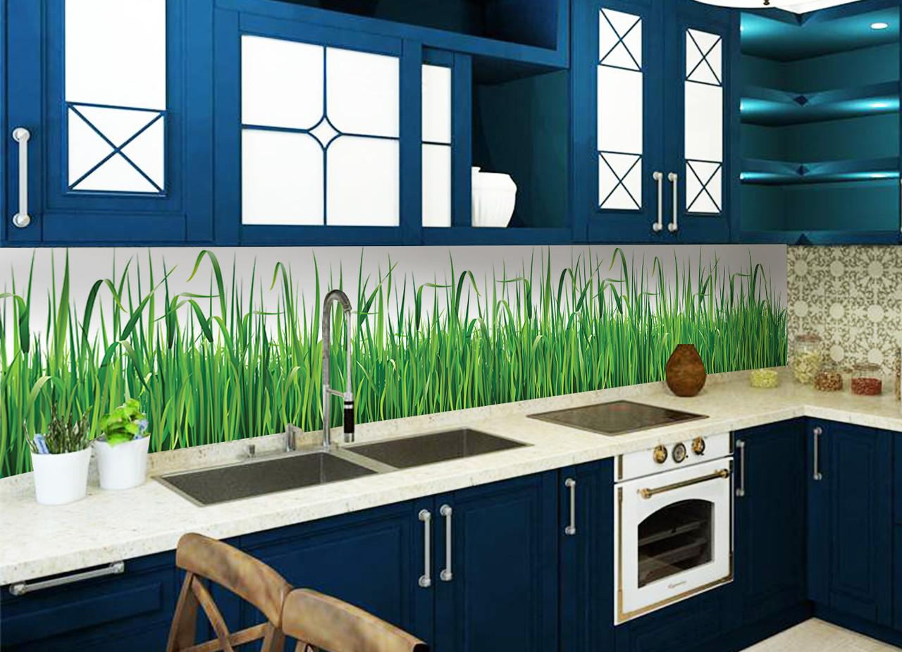 Кухонний фартух Трава повнокольоровий фотодрук наклейка на стіну для кухні скіналі зелень паростки 600*2500 мм