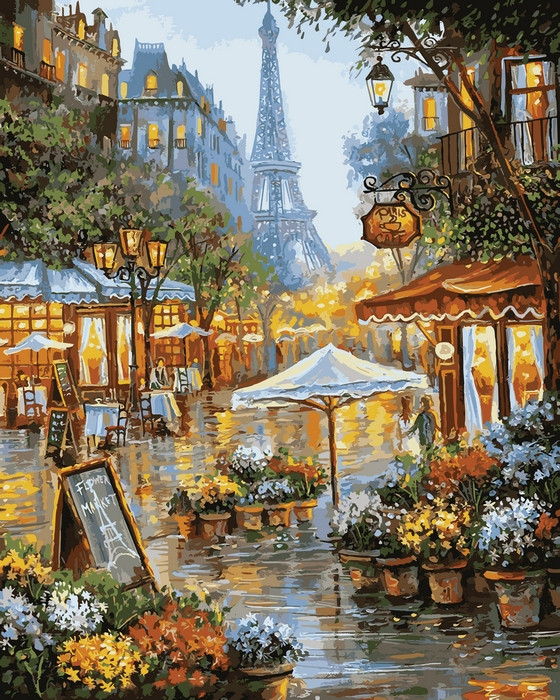 Картина по номерам 40х50см Babylon Turbo Весенние цветы Парижа