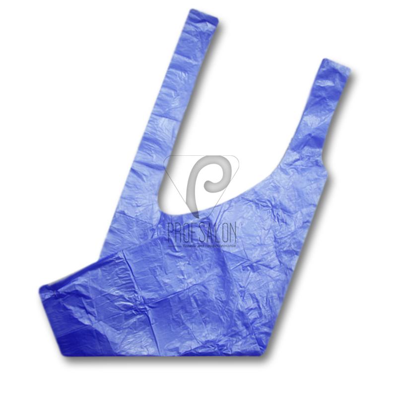 Фартук для парикмахерских работ 0,8х1,25м, полиэтилен, 100 шт, голубые