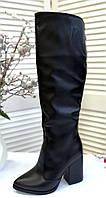 Кожаные сапоги на каблуке фабричная обувь, фото 1