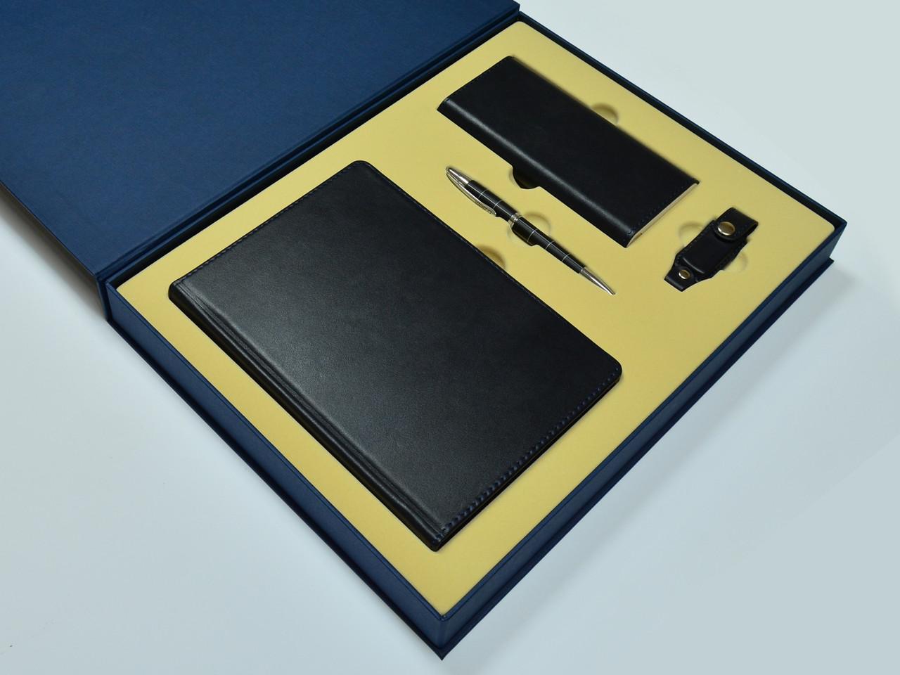 """Подарочный набор аксессуаров """"Премиум"""": ежедневник, металлическая ручка, power bank xiaomi, flash-карта"""