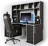 Геймерский эргономичный стол Viking-3М с надстройкой,180х85х80 черный/белый (Zeus ТМ)